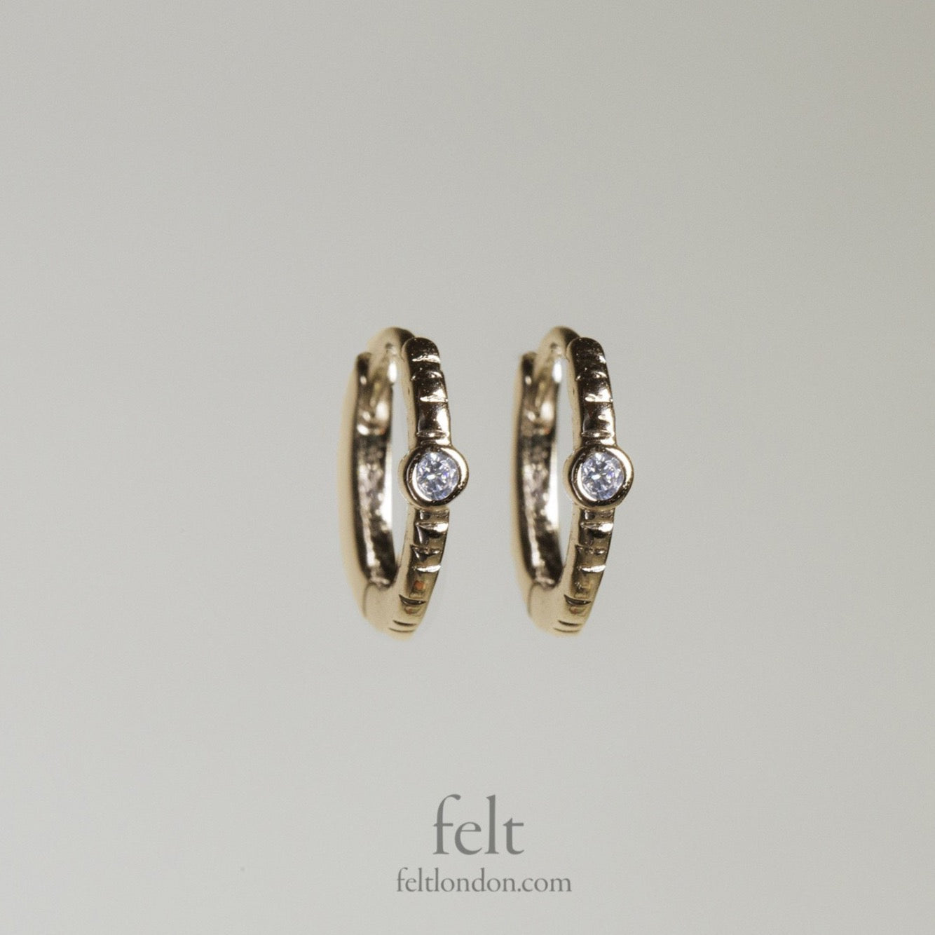 Single Stone Gold Plated Sleepers by Tai