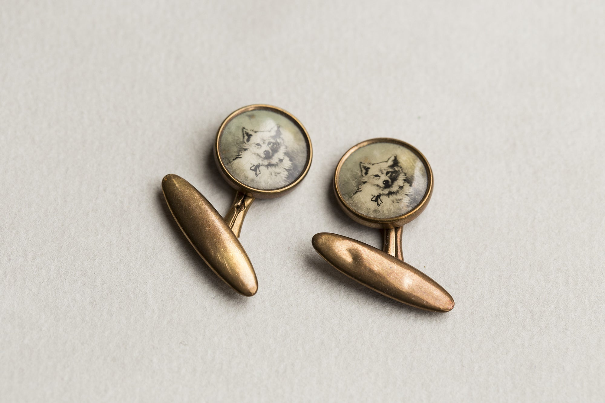 Vintage 1930 White Dog Samoyed Portrait Cufflinks