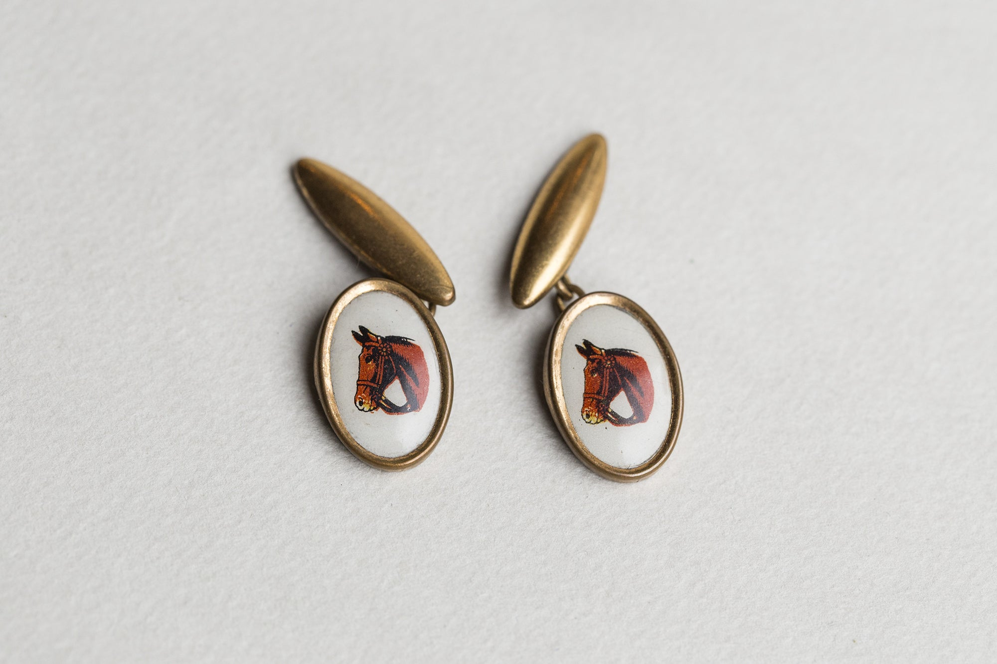 felt vintage 1930s horse portrait gold plated brass cufflinks