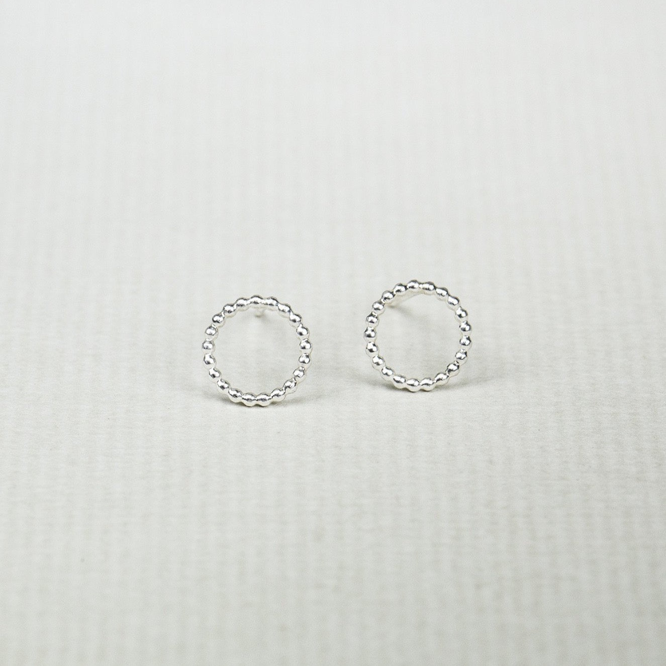 Beaded Circle Stud Earrings in Silver