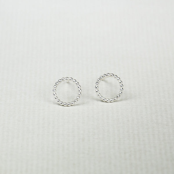 ever popular beaded circle studs in silver but also available