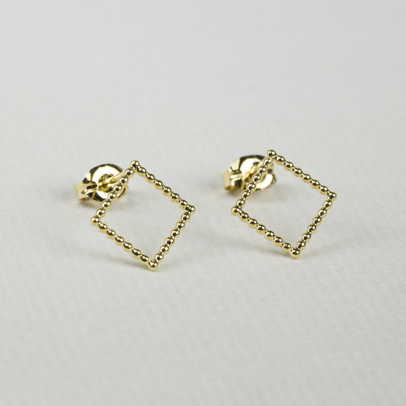 'Beaded' Gold Plated Square Stud Earrings