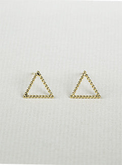 'Beaded' Gold Plated Triangle Stud Earrings