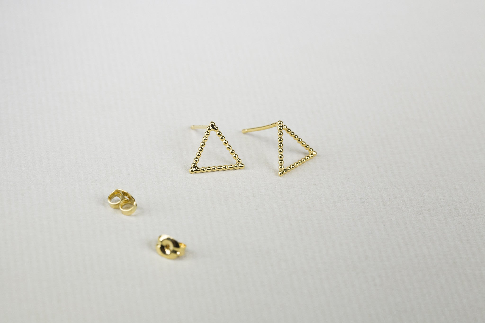 Beaded Gold Plated Triangle Stud Earrings