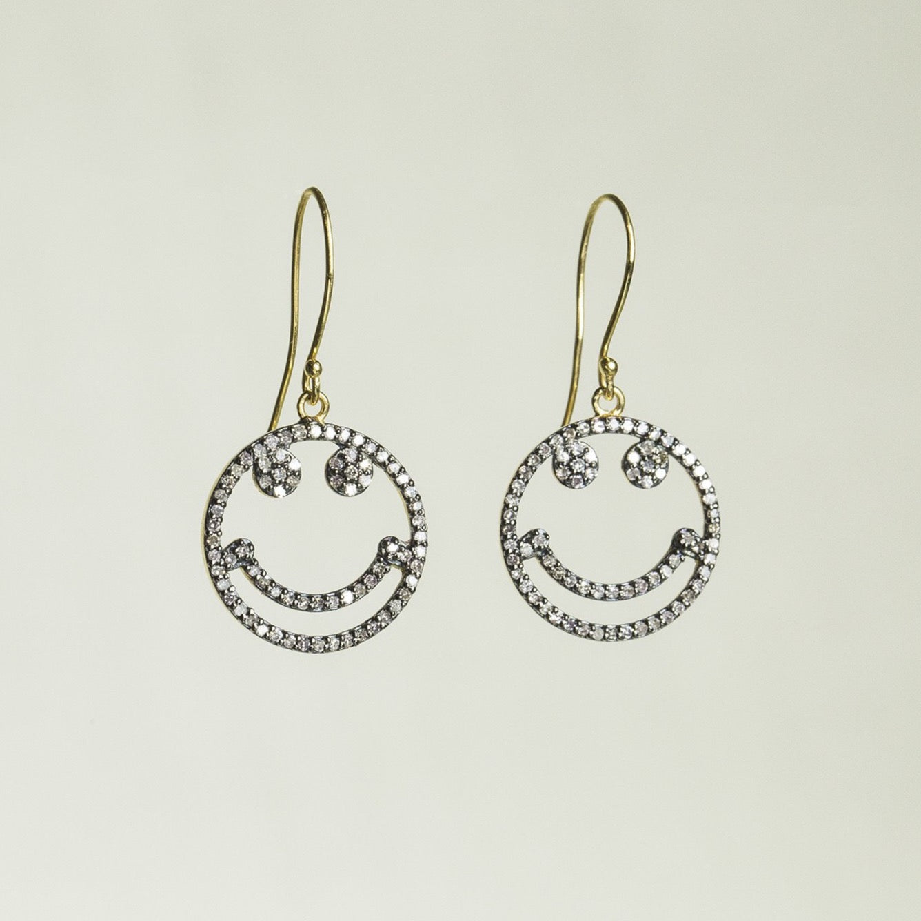 felt Diamond Smiley Face Drop Earrings