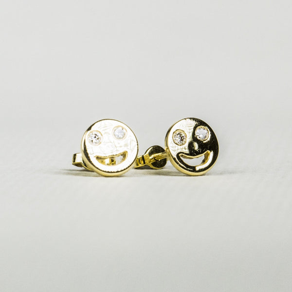 Gold Smiley Face Stud Earrings