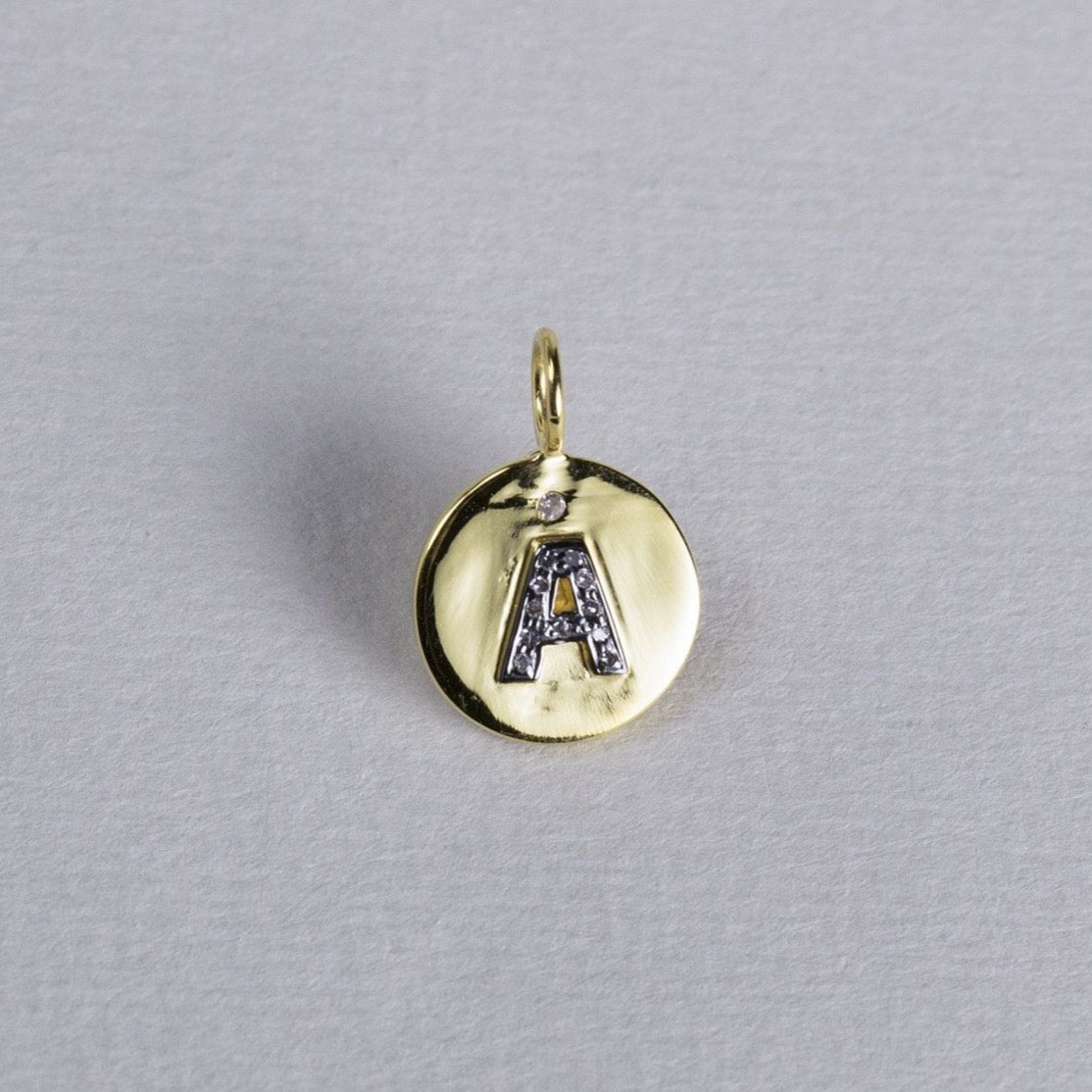 Diamond Initials on Gold Disc