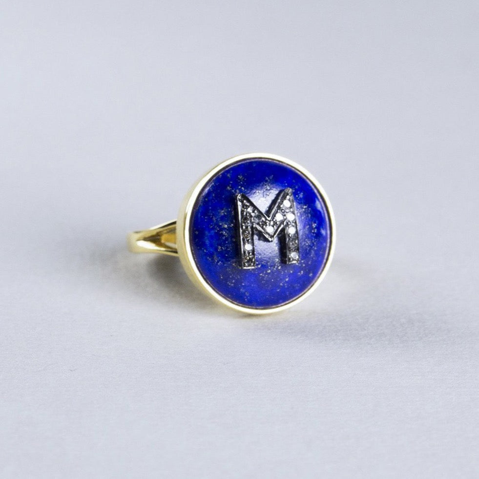 Small Lapis Lazuli Ring with Diamond Initials