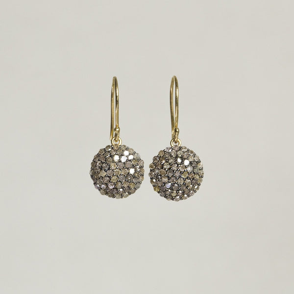 beautiful diamond pave set in oxidised silver with 18 carat gold hooks