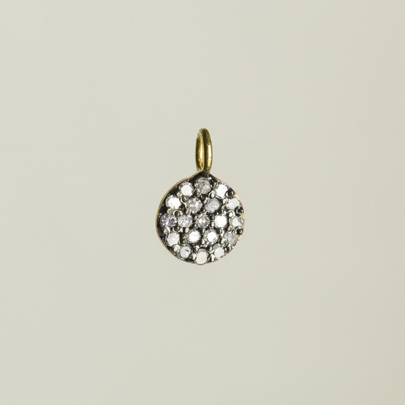 super sparkly diamonds set in oxidised silver - the beautiful small disc pendant