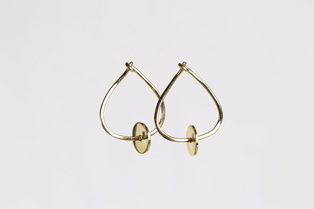 felt Wonky Hoops with Gold Discs and Single Diamond