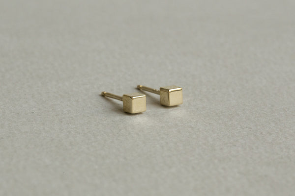 simply adorable 9 carat gold cube studs for minimalist lovers