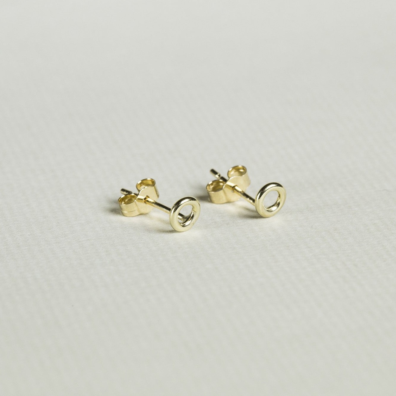real gold, subtle, geometric - modern 'halo' earrings