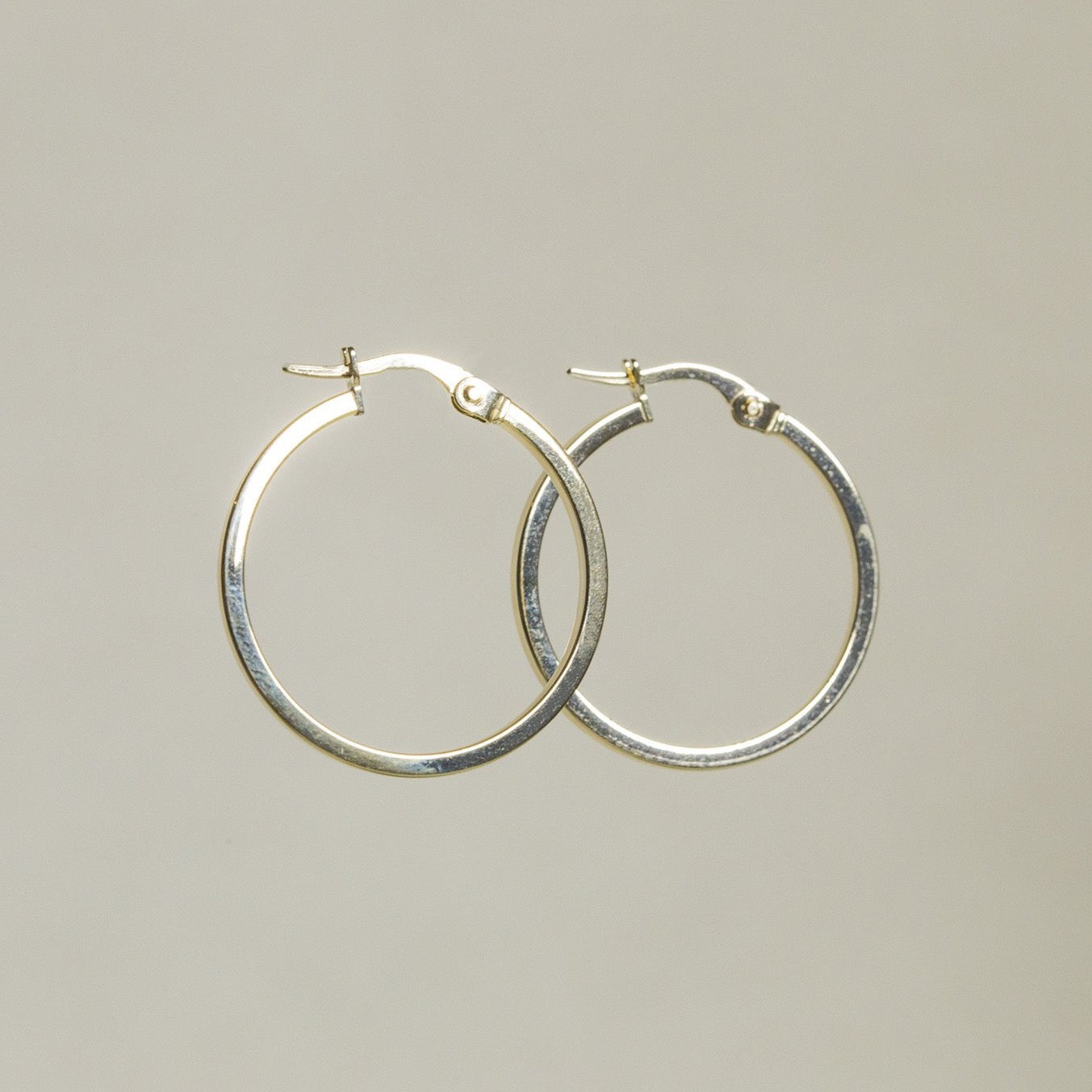 Large Gold Square Edged Hoops
