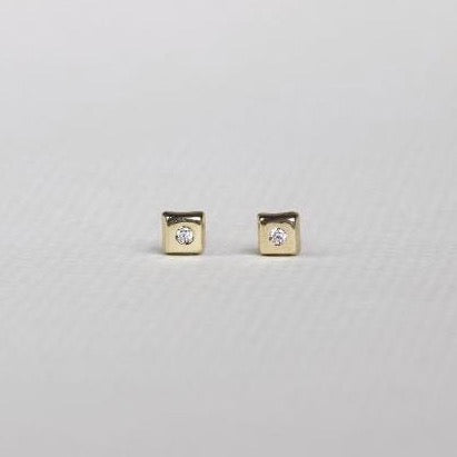 felt Gold Square Stud Earring with Crystal Middles