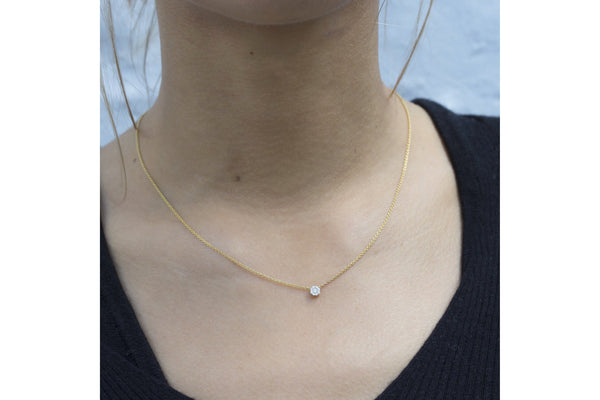 Model wearing a 4mm version of this beautiful necklace