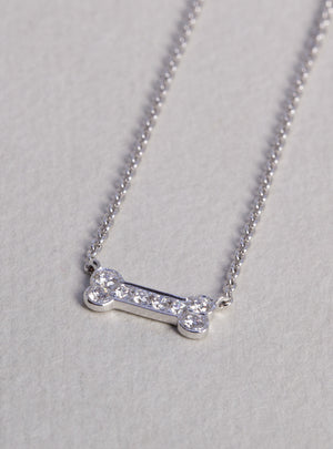 Dog bone white gold diamond necklace