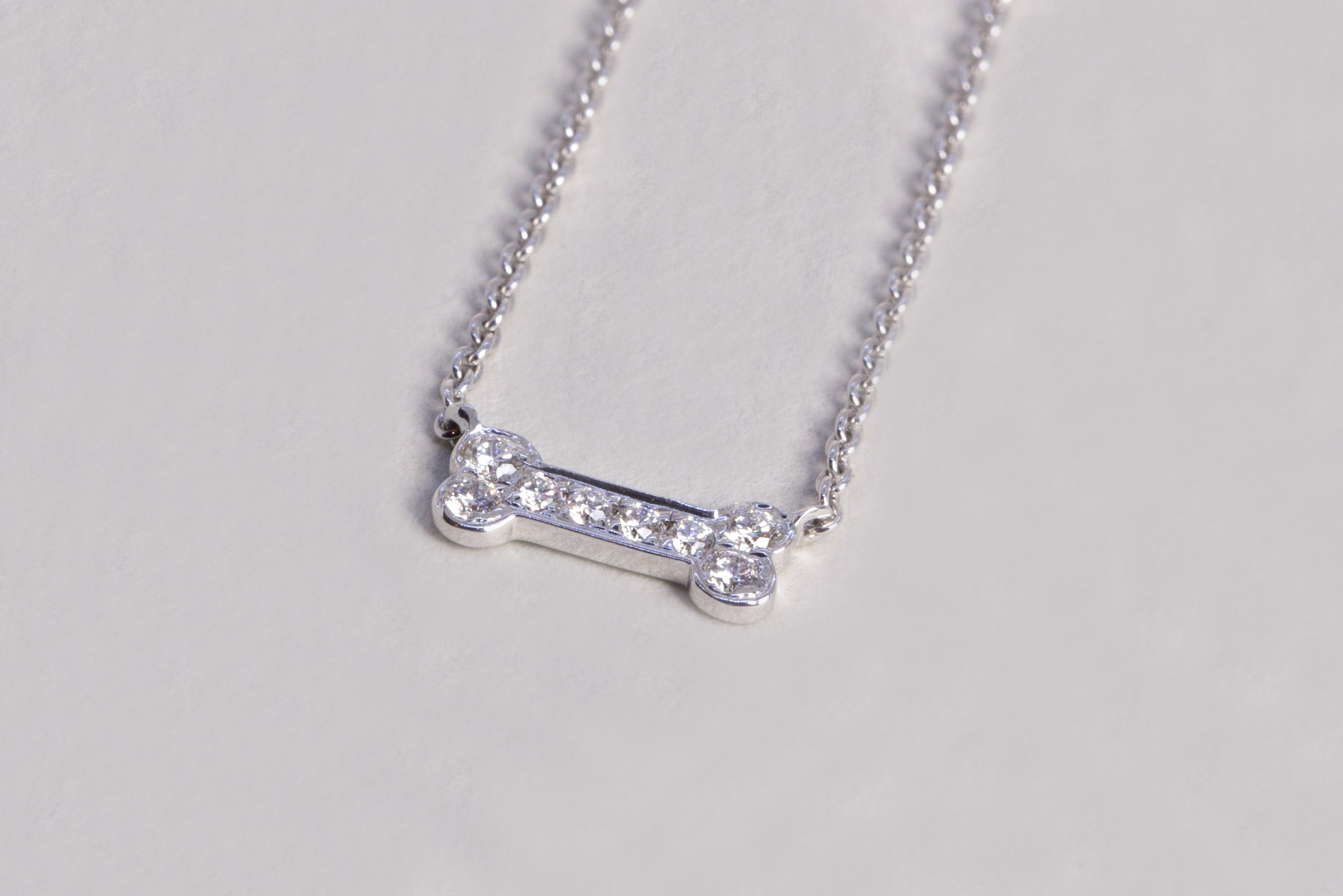 Dog Bone White Gold Dimond Necklace