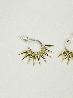 Sterling Silver Cluster Spike Hoop Earrings