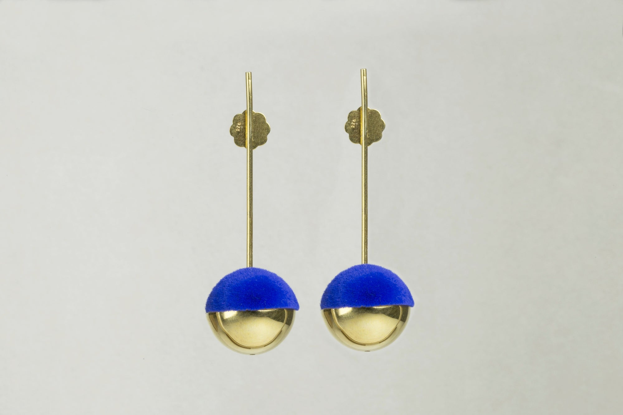 Drop Earrings with Electric Blue Flocking