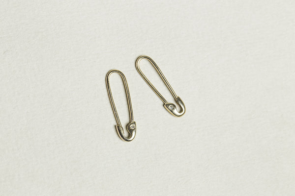 our adorable gold safety pin earrings with diamonds are the no.1 gift choice