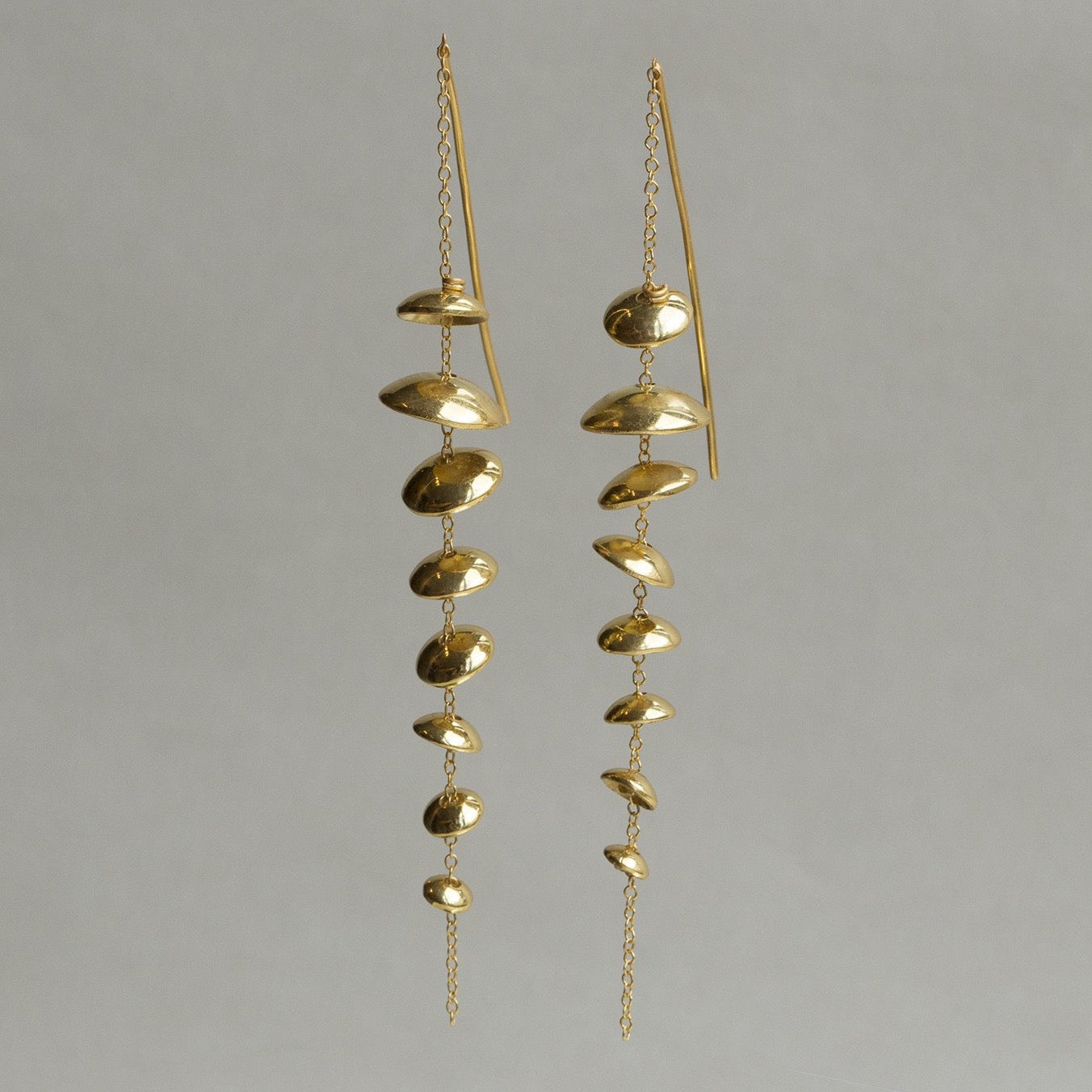 felt gold plated sterling silver floating disc long earrings