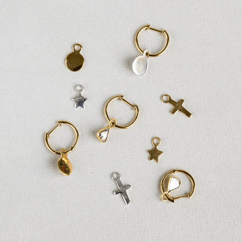 felt Earring Charms: Cross, Star and Disc in Gold and Silver