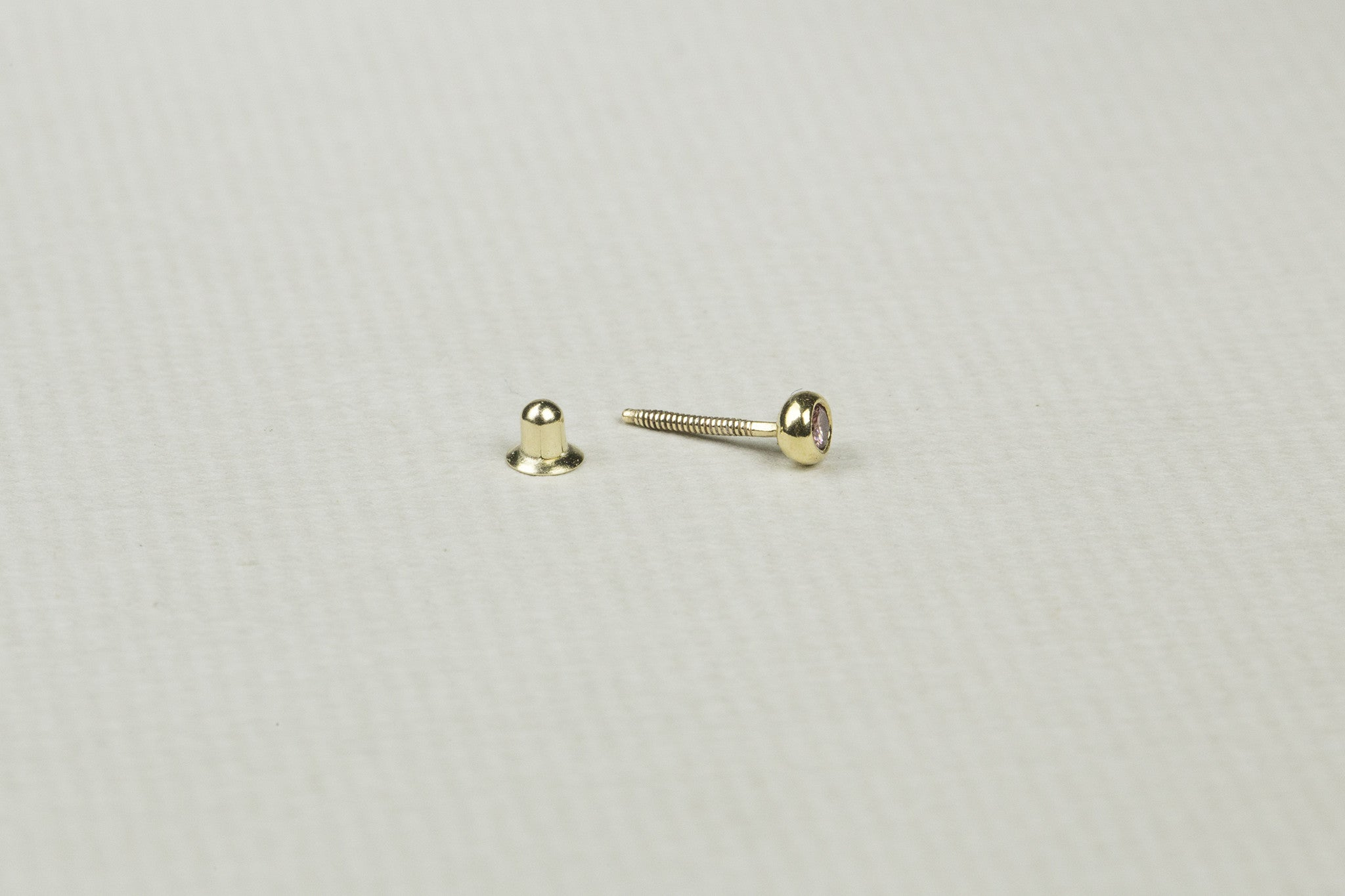 Gold and Pink Diamond Cartilage Screw Back Earring