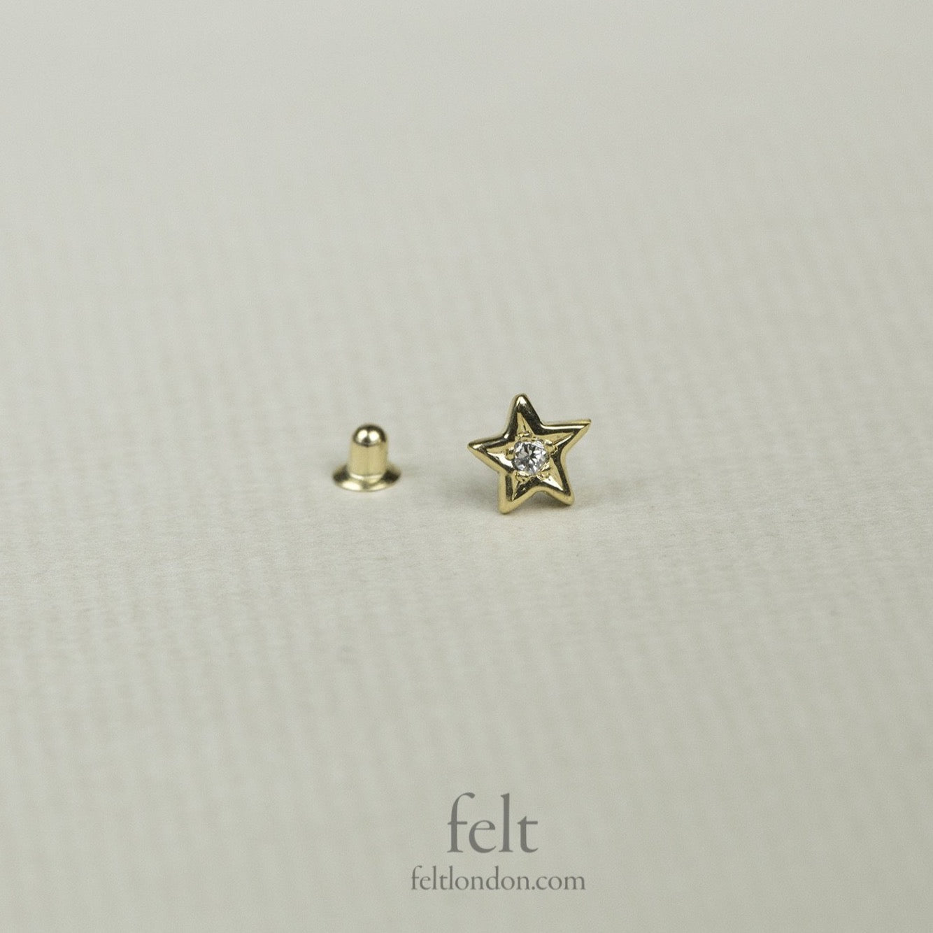 Yellow Gold and Diamond Star Earring