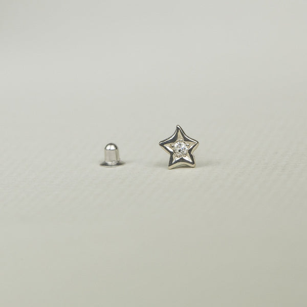 Diamond Star Cartilage Earring in White Gold