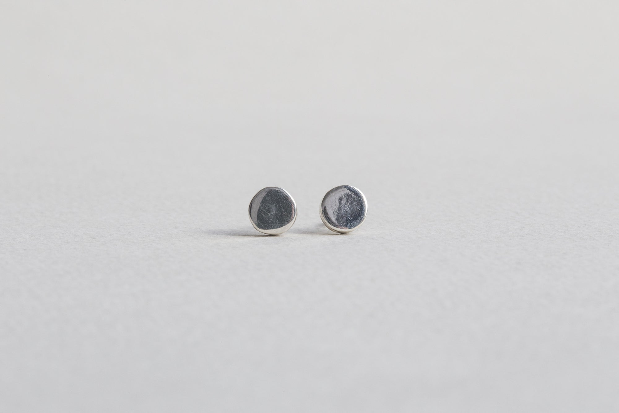 Silver Cylinder Stud Earrings