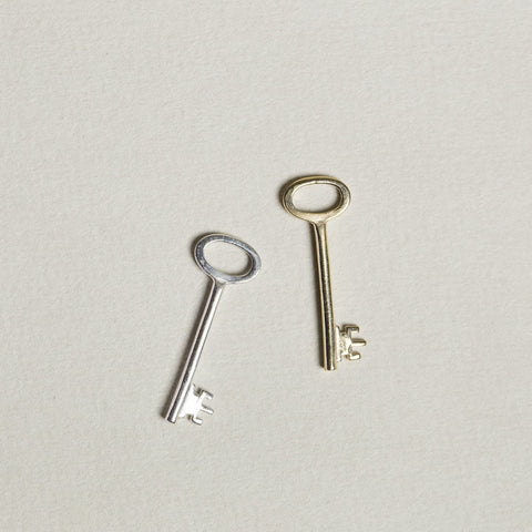 felt vintage design inspired key charm in silver or gold