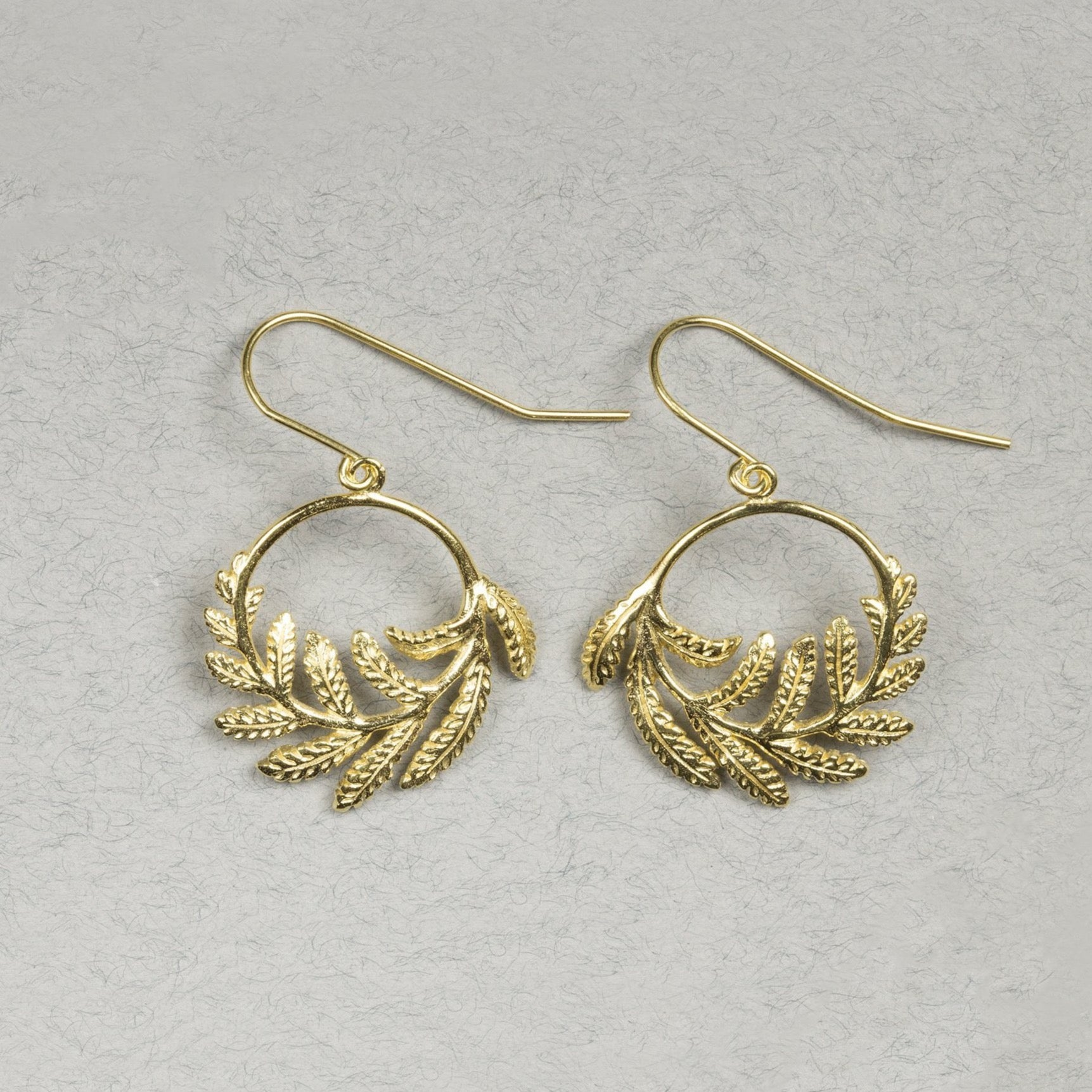 Catherine Zoraida gold fern hoop earrings