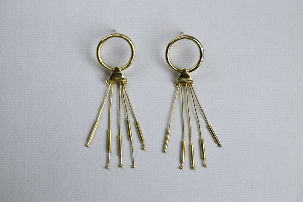 Open Circle Gold Stick Tassel Earrings