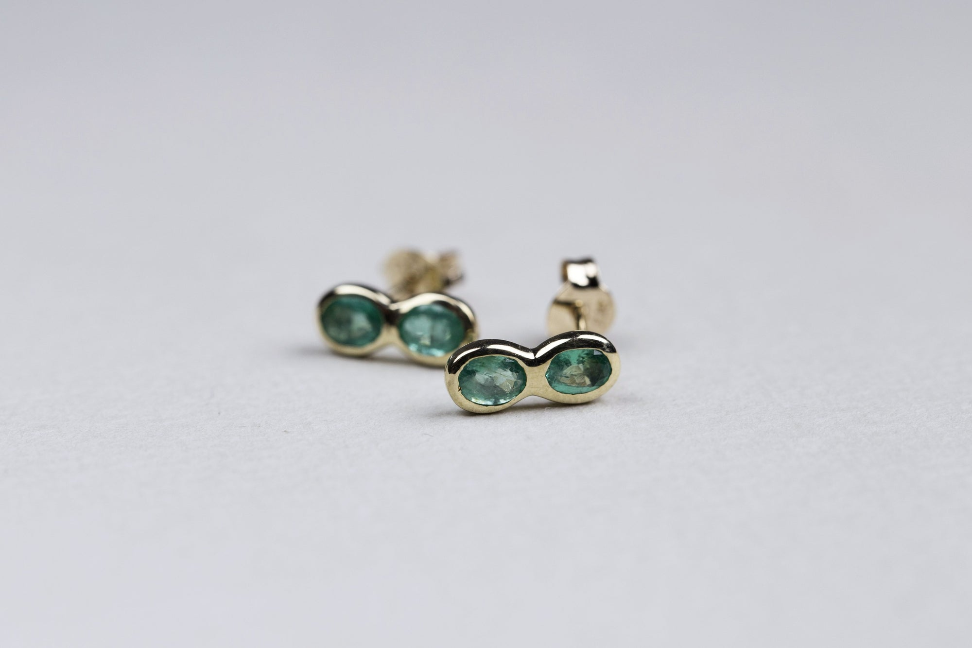 Emerald Double Round Stud Earrings