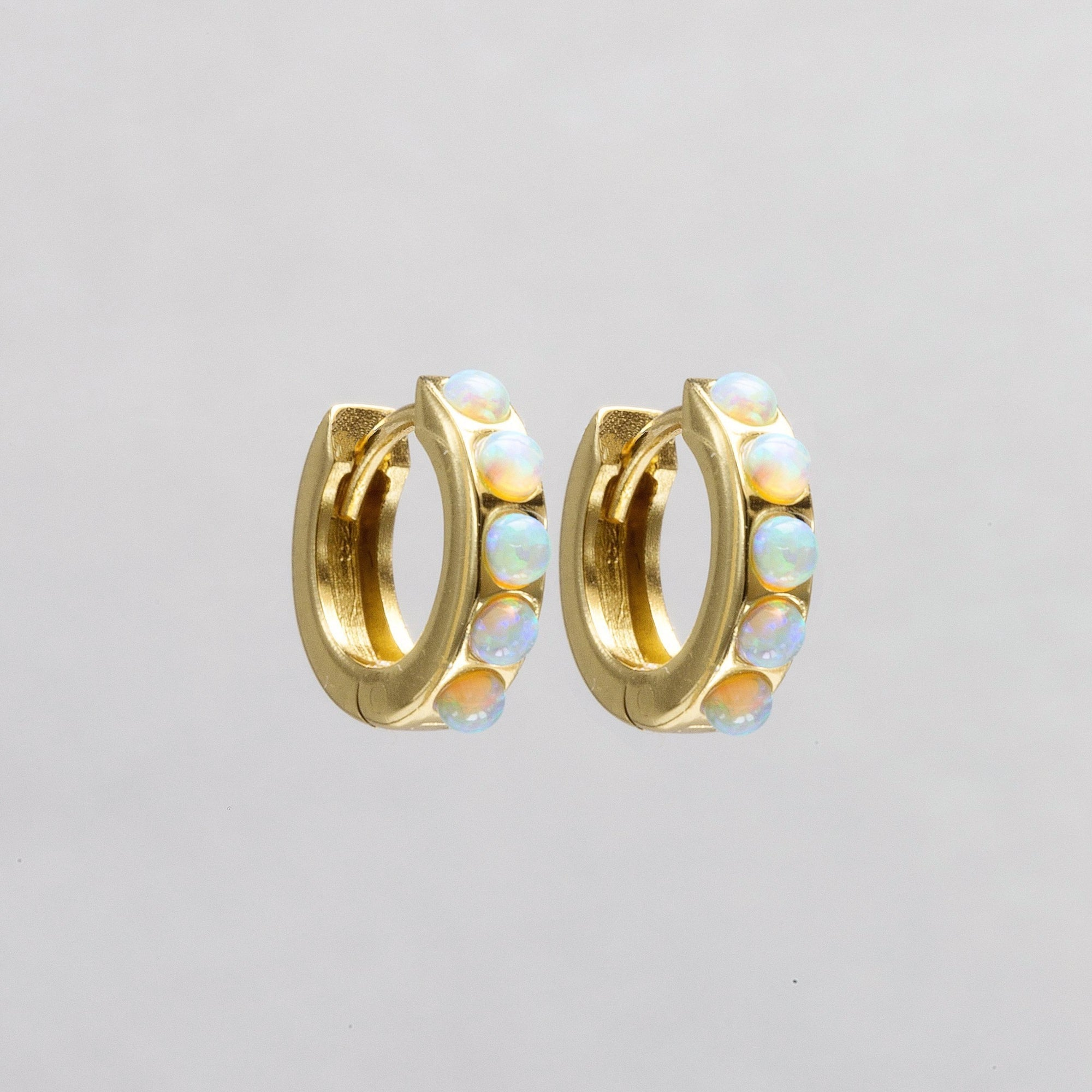 Gold plated silver hoop earrings with line opals