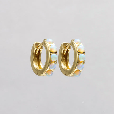Gold Plated Silver Hoop Earrings with Lime Opals