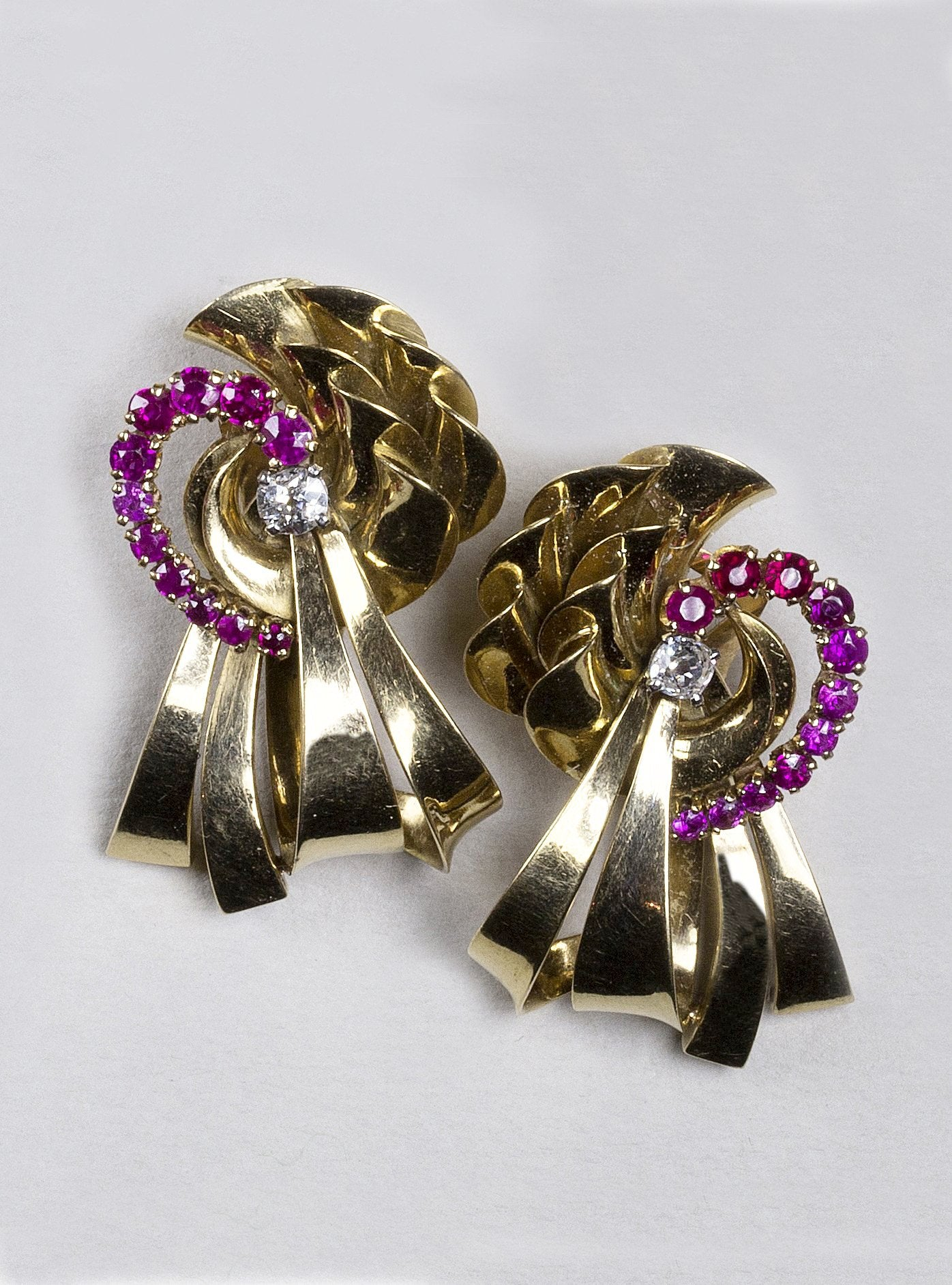 Vintage Gold Ribbon, Ruby and Diamond Earrings