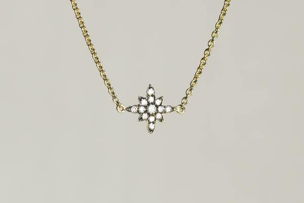 everyone's favourite starburst necklace with highest quality diamonds set in blackened gold