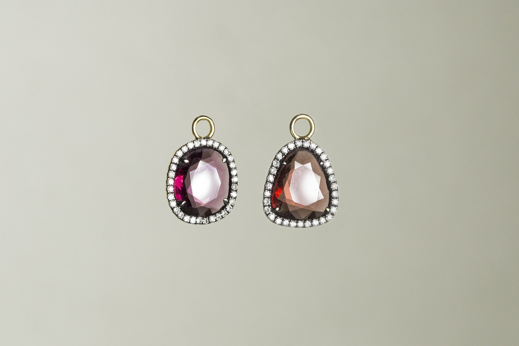 Ikuko's brilliant garnet earring charms with orgasmic diamonds set around, also sold separately
