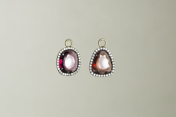 Ikuko's brilliant garnet earring charms with orgasmic diamonds set around