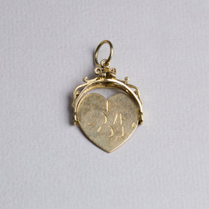 Vintage Gold Spinning I Love You Charm