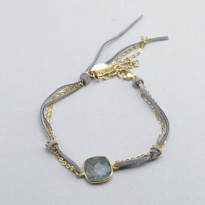 Faux Leather and Square Labradorite Bracelet