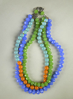Triple Strand Blue, Green and Orange Glass Bead Collar Necklace