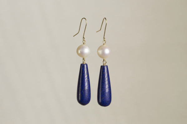graceful and elegant lapis and real pearl earring, all 9 carat gold