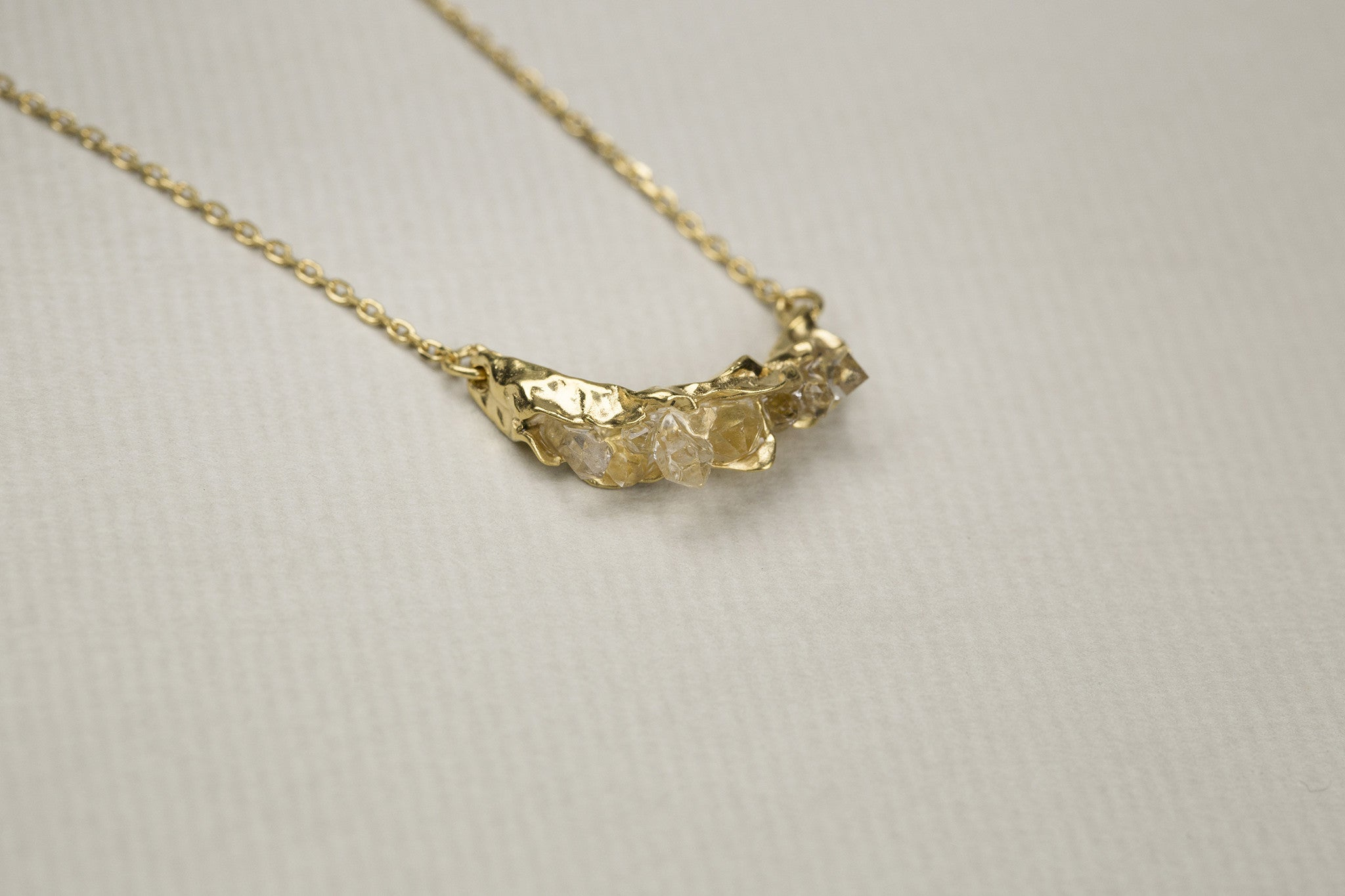 use din the necklace are herkimer diamonds - which are in fact exceptionally clear quartz