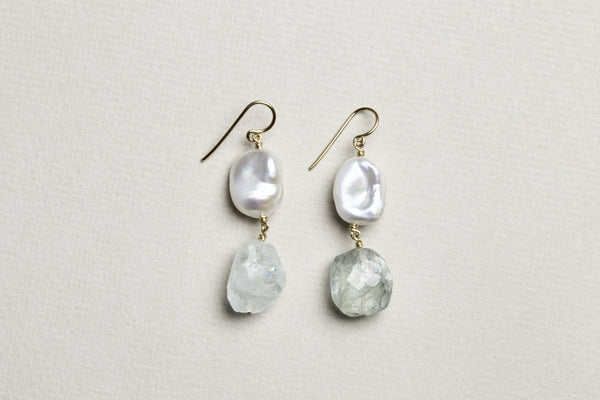 Baroque Pearl and Aquamarine Drop Earrings