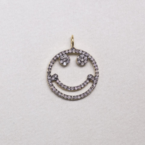 Diamond Smiley Face Charm in Oxidised Silver