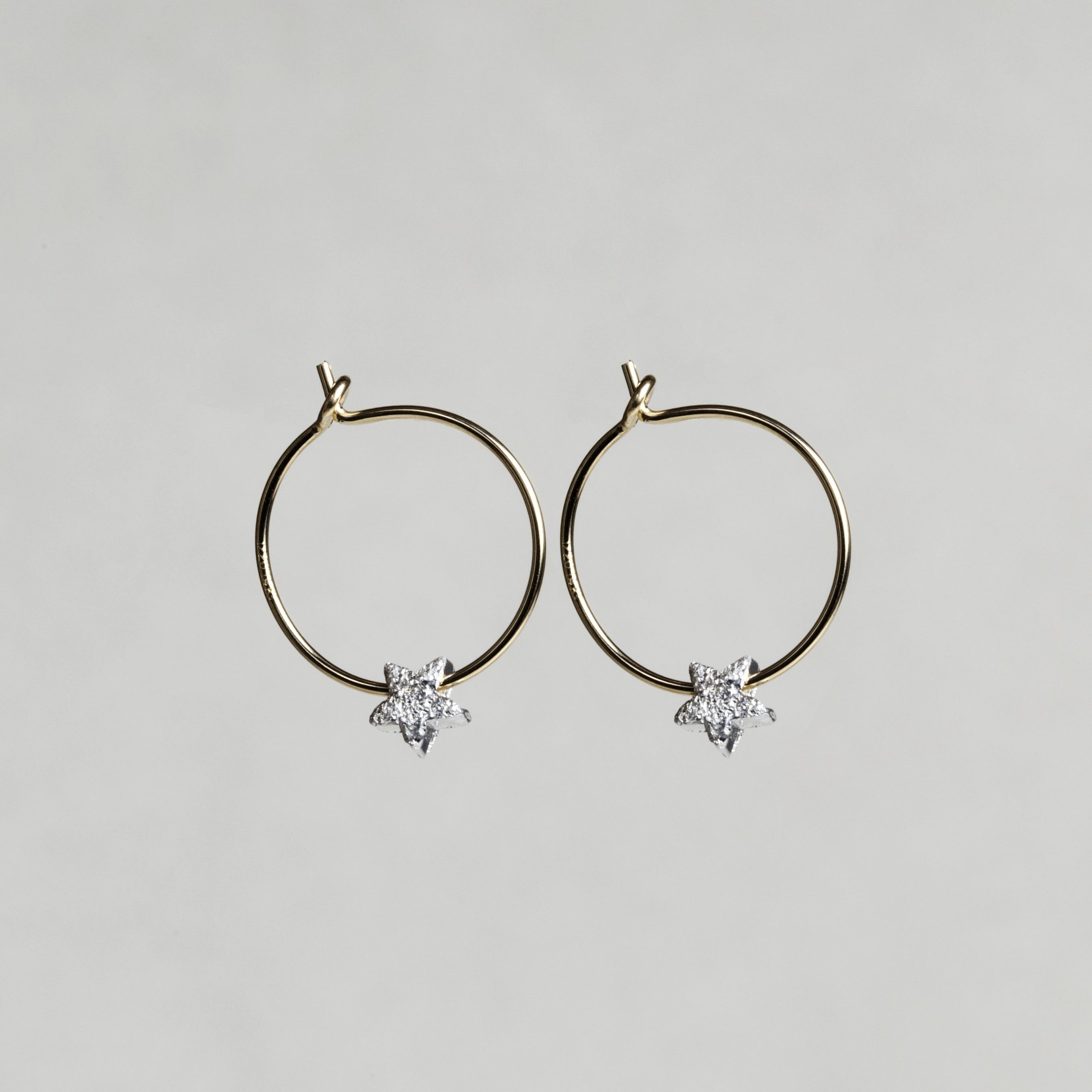 Silver star bead hoop earrings