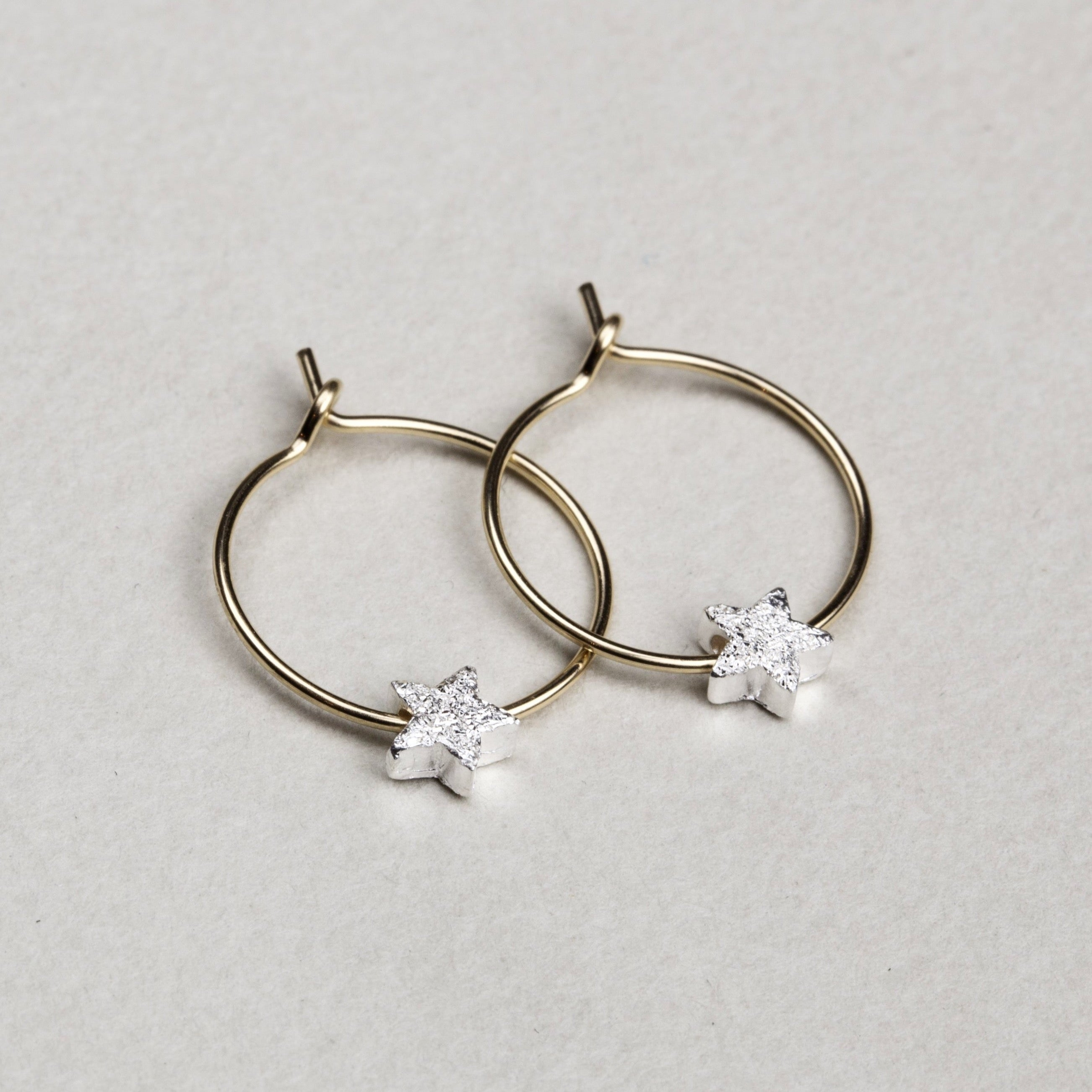 Star Bead Hoop Earrings